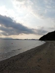 朝の海は風が気持ちい
